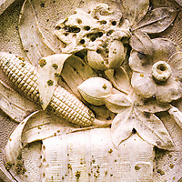Issac Hudson was a farmer and Bolivar County sheriff in the mid-1840s. His Concordia tombstone is 4-sided and this relief of corn, cotton and other crops is on one side.