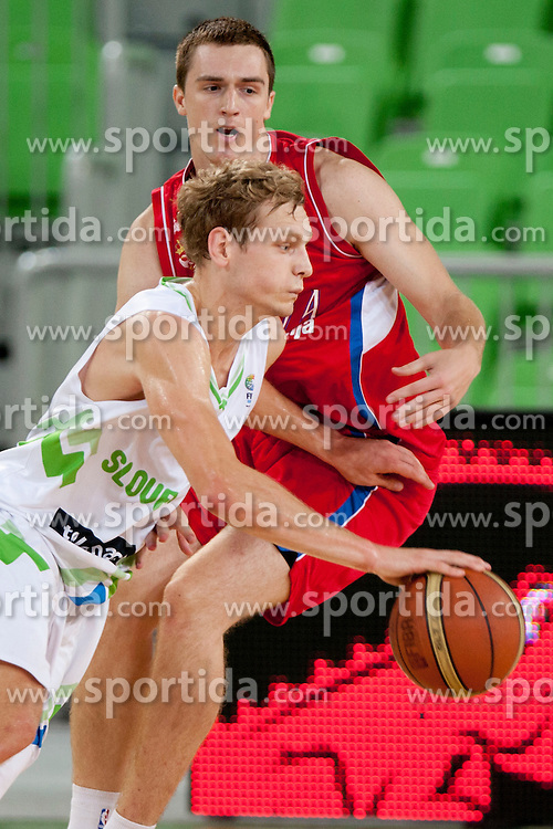 Jure Balazic of Slovenia during friendly basketball match between National teams of Slovenia and Serbia of Adecco Ex-Yu Cup 2012 as part of exhibition games 2012, on August 5, 2012, in Arena Stozice, Ljubljana, Slovenia. (Photo by Urban Urbanc / Sportida)