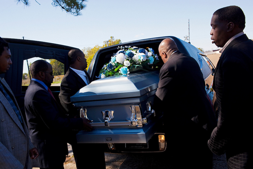"The funeral of Demetrius ""Butta"" Anderson, 18, in the  Baptist Town neighborhood of Greenwood, Mississippi on Friday, November 5, 2010."