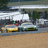 #009 Aston Martin DBR9 - Aston Martin Racing (Drivers - David Brabham, Darren Turner and Rickard Rydell) with #63 Chevrolet Corvette C6.R - Corvette Racing (Drivers - Jan Magnussen, Johnny O'Connell and Ron Fellows) GT1, Le Mans 24Hr 2007