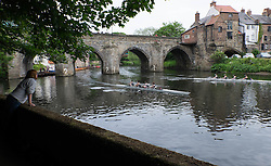 © Licensed to London News Pictures.13/06/15<br /> Durham, England<br /> <br /> A woman watches teams race during the 182nd Durham Regatta rowing event held on the River Wear. The origins of the regatta date back  to commemorations marking victory at the Battle of Waterloo in 1815. This is the second oldest event of this type in the country and attracts over 2000 competitors from across the country.<br /> <br /> Photo credit : Ian Forsyth/LNP