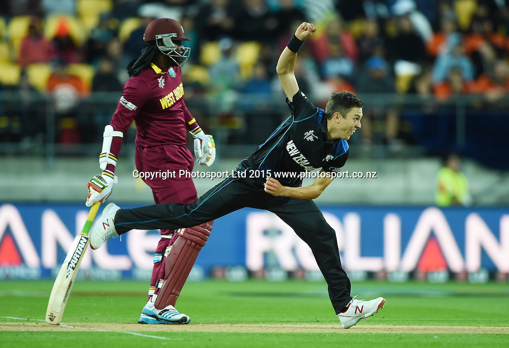 Trent Boult bowling during the ICC Cricket World Cup quarter final match between New Zealand Black Caps and the West Indies, Wellington, New Zealand. Saturday 21March 2015. Copyright Photo: Andrew Cornaga / www.Photosport.co.nz