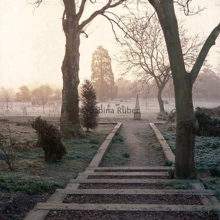 View of ornamental pyramid structure on  frosty morning, Bryan's Ground, Herefordshire.
