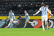 Goal Karlan Grant of Huddersfield Town Celebrates as he scores a goal 0-1 during the EFL Sky Bet Championship match between Hull City and Huddersfield Town at the KCOM Stadium, Kingston upon Hull, England on 28 January 2020.