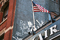 Right to bear arms graffiti in Soho Manhattan New York City