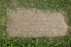 31 August 2017:   Veterans graves in Park Hill Cemetery in eastern McLean County.<br /> <br /> Cecil G Hill  Sergeant  10 Depot Rep SQ AAF  World War II  OCT 1 1908  JUL 22 1971