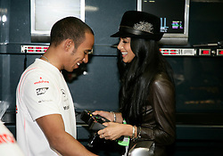 Nicole Scherzinger of the Pussycat Dolls gives her boyfriend Lewis Hamilton some moral support during the practice session,Motorsports / Formula 1: World Championship 2008, GP of Brazil, 31st Oct 2008.
