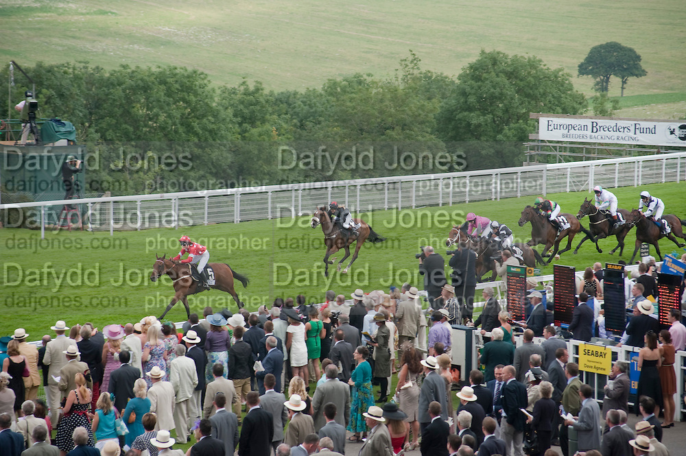 The Ladies Race, Glorious Goodwood. Ladies Day. 28 July 2011. <br /> <br />  , -DO NOT ARCHIVE-© Copyright Photograph by Dafydd Jones. 248 Clapham Rd. London SW9 0PZ. Tel 0207 820 0771. www.dafjones.com.