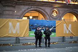 © Licensed to London News Pictures . 02/10/2017. Manchester, UK. Armed police on duty outside the Midland Hotel at the start of te second day of the Conservative Party Conference at the Manchester Central Convention Centre . Photo credit: Joel Goodman/LNP