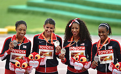30-08-2015 CHN: IAAF World Championships Athletics day 9, Beijing<br /> 400 m relay  Allyson FELIX,  Jasmine TODD, English GARDNER, Jenna PRANDINI USA<br /> Photo by Ronald Hoogendoorn / Sportida