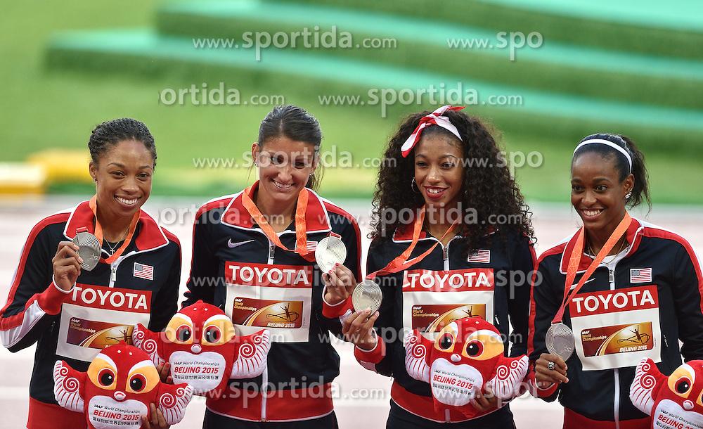 30-08-2015 CHN: IAAF World Championships Athletics day 9, Beijing<br /> 400 m relay  Allyson FELIX,  Jasmine TODD, English GARDNER, Jenna PRANDINI USA<br /> Photo by Ronald Hoogendoorn / Sportida