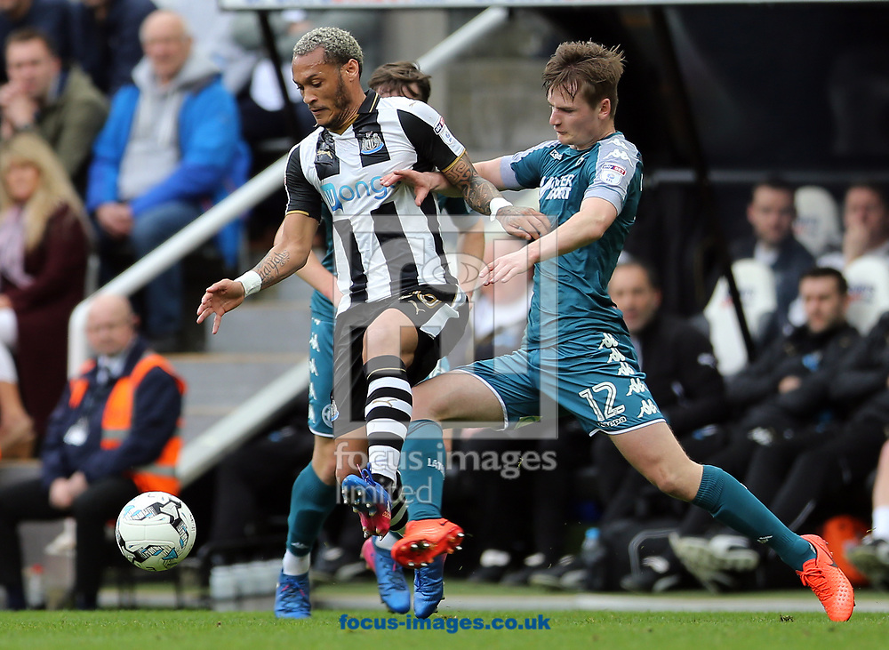 Yoan Gouffran (l) of Newcastle United and Callum Connolly of Wigan Athletic during the Sky Bet Championship match at St. James's Park, Newcastle<br /> Picture by Simon Moore/Focus Images Ltd 07807 671782<br /> 01/04/2017