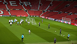 MANCHESTER, ENGLAND - Wednesday, March 16, 2016: Liverpool practice corners during a training session at Old Trafford ahead of the UEFA Europa League Round of 16 2nd Leg match against Manchester United. (Pic by David Rawcliffe/Propaganda)