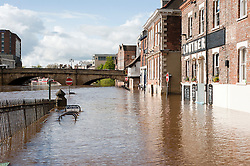 On the day the environment Agency announce there is no longer a drought in Yorkshire, this is the view of the Kings Staith York looking up the river Ouse toward Bridge Street where river has risen flooding local roads and businesses after the wettest April since records began. .11  May 2012.Image © Paul David Drabble