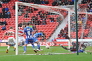 Andrew Butler (6) of Doncaster Rovers scores his second goal to go 2-1 up  during the Sky Bet League 1 match between Doncaster Rovers and Wigan Athletic at the Keepmoat Stadium, Doncaster, England on 16 April 2016. Photo by Ian Lyall.