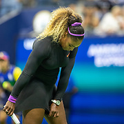 2019 US Open Tennis Tournament- Day Eleven.  Serena Williams of the United States adjusts her outfit during her match against Elina Svitolina of the Ukraine in the Women's Singles Semi-Finals match on Arthur Ashe Stadium during the 2019 US Open Tennis Tournament at the USTA Billie Jean King National Tennis Center on September 5th, 2019 in Flushing, Queens, New York City.  (Photo by Tim Clayton/Corbis via Getty Images)