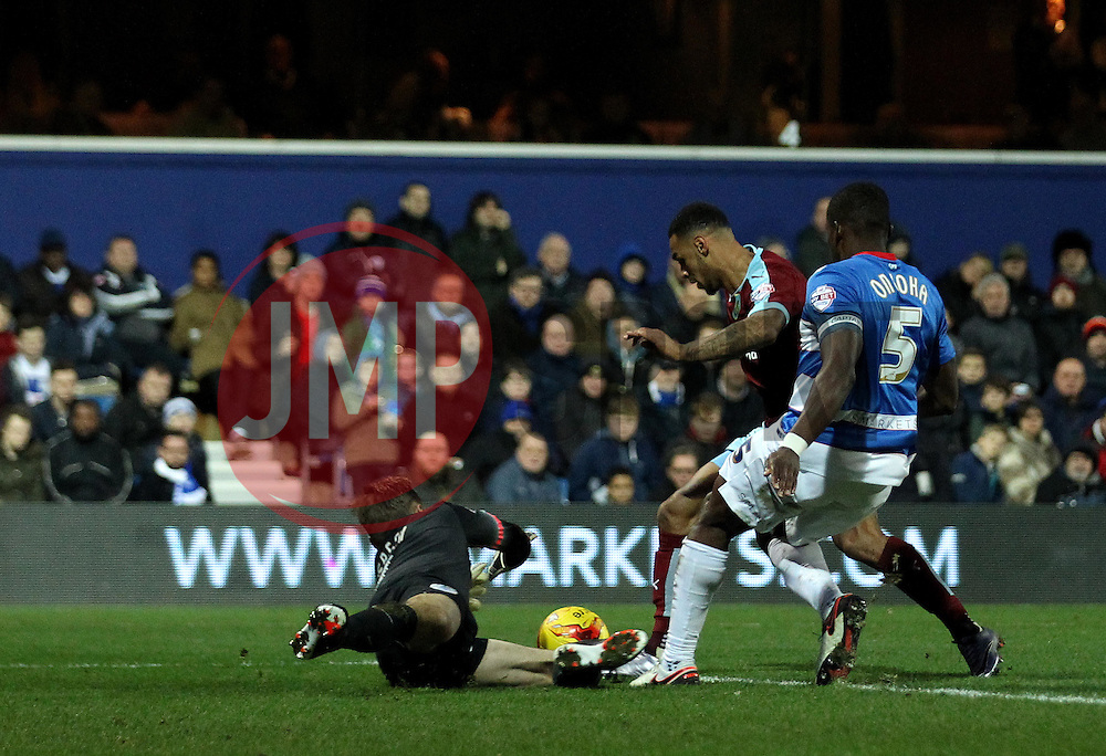 Andre Gray of Burnley is stopped by Robert Green of Queens Park Rangers - Mandatory byline: Robbie Stephenson/JMP - 12/12/2015 - Football - Loftus Road - London, England - Queens Park Rangers v Burnley  - Sky Bet Championship