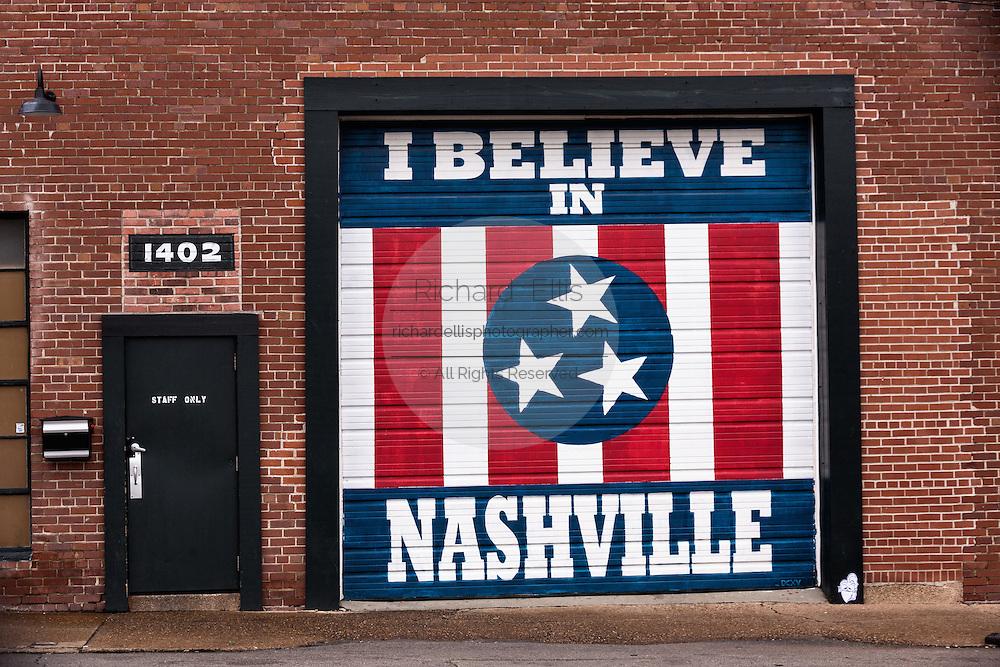I Believe in Nashville wall mural on the Marathon Music Works in Nashville, TN.