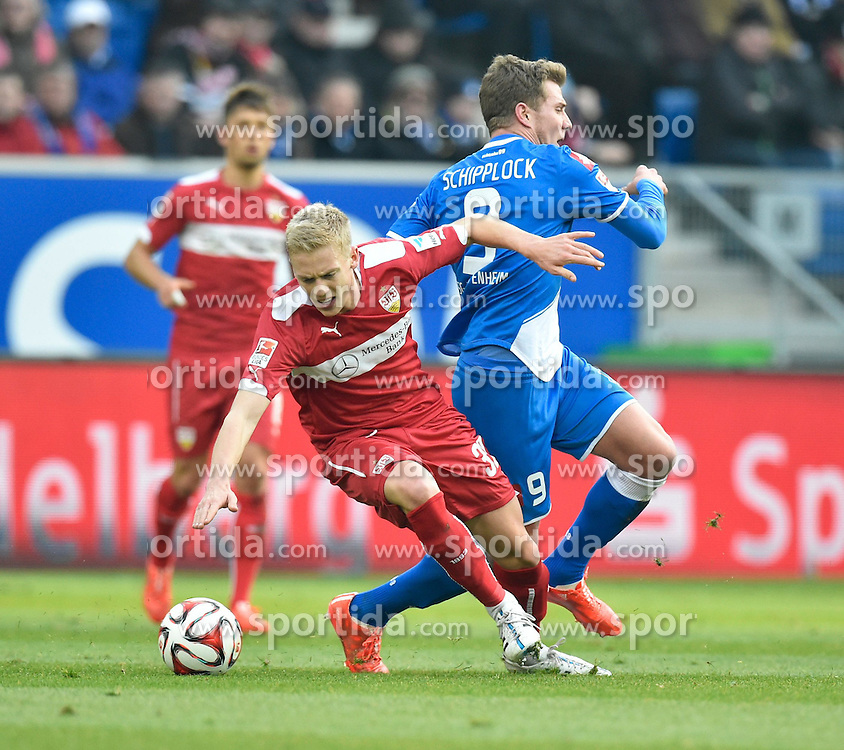 14.02.2015, Rhein Neckar Arena, Sinsheim, GER, 1. FBL, TSG 1899 Hoffenheim vs VfB Stuttgart, 21. Runde, im Bild Zweikampf Aktion Timo Baumgartl VfB Stuttgart (links) gegen Sven Schipplock TSG 1899 Hoffenheim (rechts) // during the German Bundesliga 21th round match between TSG 1899 Hoffenheim and VfB Stuttgart at the Rhein Neckar Arena in Sinsheim, Germany on 2015/02/14. EXPA Pictures &copy; 2015, PhotoCredit: EXPA/ Eibner-Pressefoto/ Weber<br /> <br /> *****ATTENTION - OUT of GER*****
