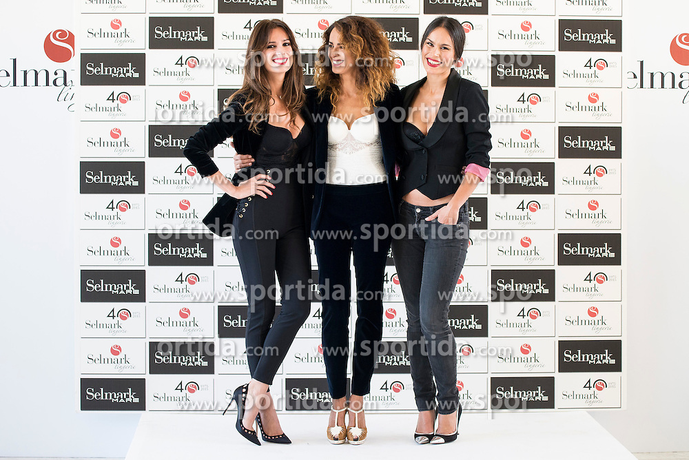 15.10.2015, Circulo de Bellas Artes, Madrid, ESP, Senmark Jubil&auml;ums Fashion Show, im Bild Mar Saura, Monica Estarreado and Mireia Canalda // during the Senmark 40th. Aniversary Fashion Show at the Circulo de Bellas Artes in Madrid, Spain on 2015/10/15. EXPA Pictures &copy; 2015, PhotoCredit: EXPA/ Alterphotos/ BorjaB.hojas<br /> <br /> *****ATTENTION - OUT of ESP, SUI*****