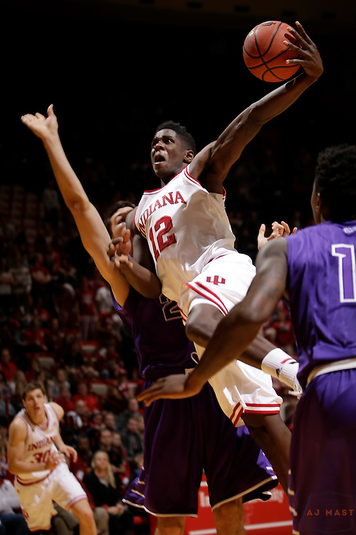 Indiana forward Hanner Mosquera-Perea (12) as Grand Canyon played Indiana in an NCAA college basketball game in Bloomington, Ind., Saturday, Dec. 13, 2014. (AJ Mast/Photo)