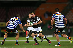 John-Hubert Meyer of the Sharks attempts to get past JP Smith of Western Province during the Currie Cup Premier Division match between the DHL Western Province and the Sharks held at the DHL Newlands Rugby Stadium in Cape Town, South Africa on the 3rd September  2016<br /> <br /> Photo by: Shaun Roy / RealTime Images