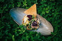 Banana blossom salad with duck and herbs at the Nam Hai Cooking Center in Hoi An, Vietnam.