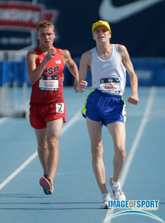 Jun 22, 2013; Des Moines, IA, USA;  Nathaniel Roberts defeats Alexander Peters to win the junior 10,000m race walk, 52:06.97 to 52:08.62, in the 2013 USA Championships at Drake Stadium.