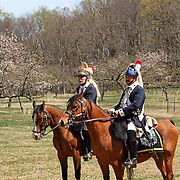 A mounted Dragoon soldier of the American Continental Army during a re-enactment at Jockey Hollow National Park, new Jersey, USA, Parts of the Continental Army wintered at Jockey Hollow in 1789-1782.<br />
