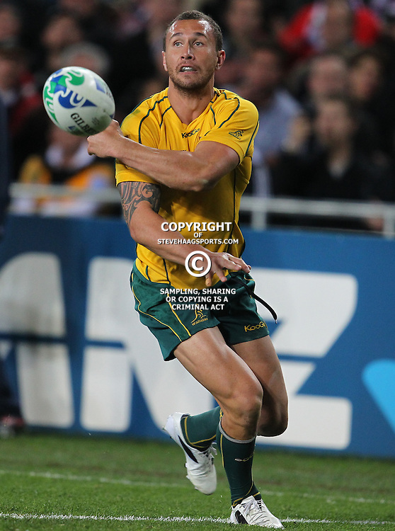 AUCKLAND, NEW ZEALAND - OCTOBER 16, Quade Cooper during the 2011 IRB Rugby World Cup Semi Final match between New Zealand and Australia at Eden Park on October 16, 2011 in Auckland, New Zealand<br /> Photo by Steve Haag / Gallo Images
