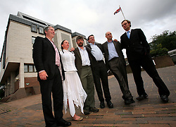 UK ENGLANDMAIDSTONE 10SEP08 - The Kingsnorth six - Kevin Drake, Emily Hall, Huw Williams, Tim Hewke, Ben Stewart and Will Rose (L-R) pose for a group photo outside Maidstone Crown Court after being found not guilty by a jury of criminal damage charges for their action at Kingsnorth power station the previous year...jre/Photo by Jiri Rezac / Greenpeace..© Jiri Rezac 2008..Contact: +44 (0) 7050 110 417.Mobile:  +44 (0) 7801 337 683.Office:  +44 (0) 20 8968 9635..Email:   jiri@jirirezac.com.Web:    www.jirirezac.com..All images © Jiri Rezac 2008. All rights reserved.