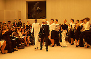 Andre Leon Talley, Alek Wek, Karl Lagerfeld, Chanel couture fashion show, Paris, 20 January 2004. © Copyright Photograph by Dafydd Jones 66 Stockwell Park Rd. London SW9 0DA Tel 020 7733 0108 www.dafjones.com