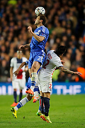 cChelsea Defender Branislav Ivanovic (SRB) and PSG Forward Ezequiel Lavezzi (ARG) compete in the air - Photo mandatory by-line: Rogan Thomson/JMP - 07966 386802 - 08/04/2014 - SPORT - FOOTBALL - Stamford Bridge, London - Chelsea v Paris Saint-Germain - UEFA Champions League Quarter-Final Second Leg.