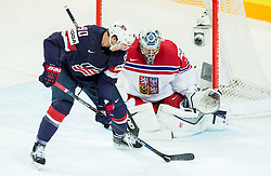 Anders Lee of USA vs Ondrej Pavelec of Czech Republic during Ice Hockey match between USA and Czech Republic at Third place game of 2015 IIHF World Championship, on May 17, 2015 in O2 Arena, Prague, Czech Republic. Photo by Vid Ponikvar / Sportida