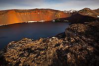 Ljótipollur crater lake in evening light.  Interior of Iceland. Ljótipollur í kvöldsól.