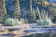 frosty autumn morning on Reflection Lake, Mt Rainier National Park, Washington State