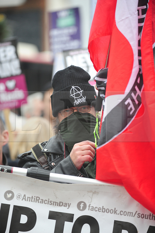 &copy; Licensed to London News Pictures.04/11/2017.<br /> BROMLEY, UK.<br /> ANTI BRITAIN FIRST PROTESTER.<br /> Britain First hold a Persecuted Patriots Rally outside Bromley Police Station, Bromley South.Party Leader Paul Golding and his deputy Jayda Fransen have to sign on bail every Saturday 2pm at Bromley Police station.<br /> Photo credit: Grant Falvey/LNP