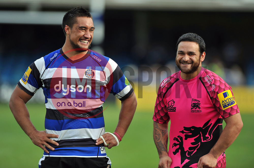 Leroy Houston of Bath Rugby and Piri Weepu of London Welsh have a laugh after the match - Photo mandatory by-line: Patrick Khachfe/JMP - Mobile: 07966 386802 13/09/2014 - SPORT - RUGBY UNION - Bath - The Recreation Ground - Bath Rugby v London Welsh - Aviva Premiership