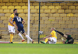 Will Atkinson Of Southend United scores his sides first goal - Photo mandatory by-line: Robin White/JMP - Tel: Mobile: 07966 386802 24/03/2014 - SPORT - FOOTBALL - Roots Hall - Southend - Southend United vs Oxford United - Sky Bet League 2