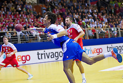Jure Dobelsek of Slovenia during handball match between Iceland and Slovenia in  3rd Round of Preliminary Round of 10th EHF European Handball Championship Serbia 2012, on January 20, 2012 in Millennium Center, Vrsac, Serbia. Slovenia defeated Iceland 34-32. (Photo By Vid Ponikvar / Sportida.com)