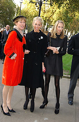 Left to right, LADY HESKETH and her daughters The HON.SOPHIA HESKETH and the HON.FLORA HESKETH at the wedding of Clementine Hambro to Orlando Fraser at St.Margarets Westminster Abbey, London on 3rd November 2006.<br />