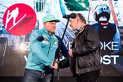 Goran Janus and Ljubo Jasnic at press conference of Slovenian Nordic Ski team after seasn 2017-18 with main sponsor Mercator, on March 28, 2018 in Maximarket, Ljubljana, Slovenia. Photo by Matic Klansek Velej / Sportida