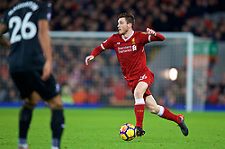 LIVERPOOL, ENGLAND - Boxing Day, Tuesday, December 26, 2017: Liverpool's Andy Robertson during the FA Premier League match between Liverpool and Swansea City at Anfield. (Pic by David Rawcliffe/Propaganda)