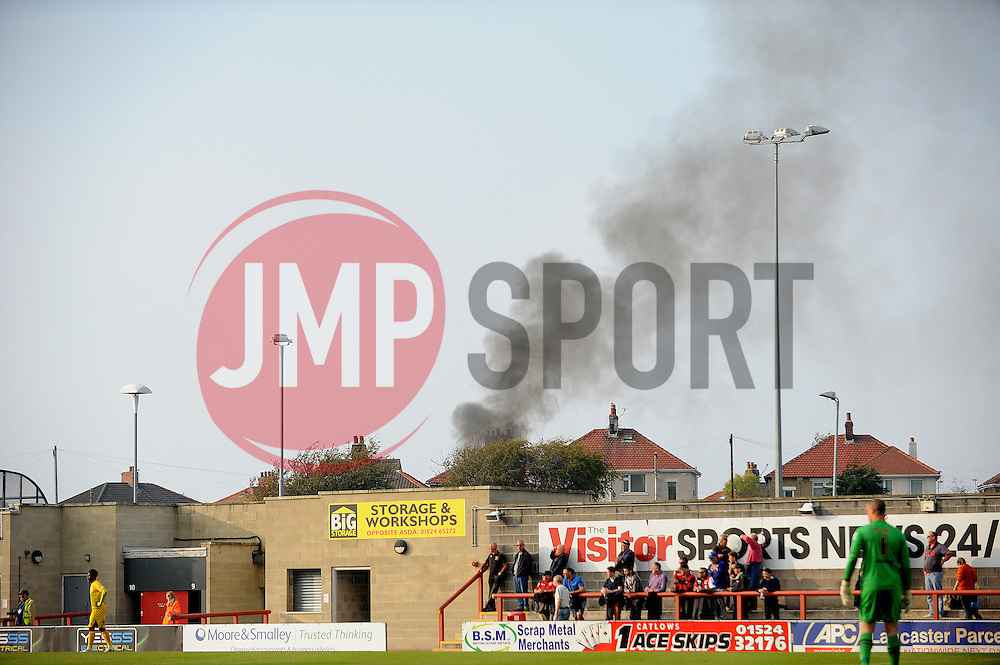Something's burning .... - Mandatory byline: Neil Brookman/JMP - 07966 386802 - 03/10/2015 - FOOTBALL - Globe Arena - Morecambe, England - Morecambe FC v Bristol Rovers - Sky Bet League Two