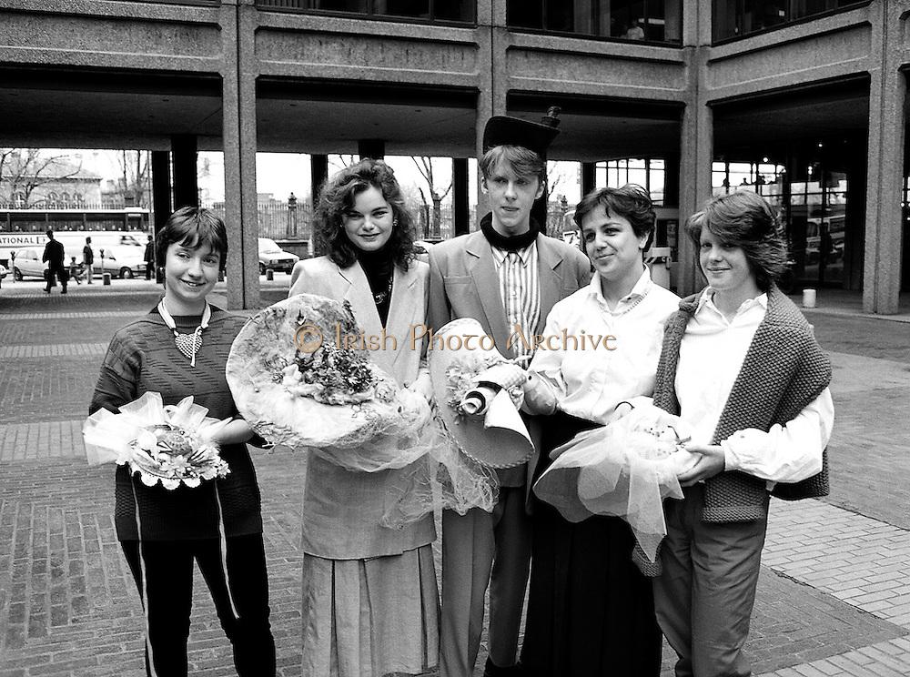 As part of an Easter promotion, the Kilkenny Design Shop in Nassau Street, Dublin, sponsored an Easter bonnet design competition.<br /> 16 April 1987