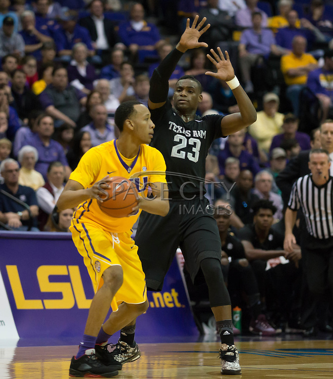 Daniel House (25) Texas A&M defends Tim Quaterman (55) of LSU. LSU defeats Texas A&M 76-71 in Baton Rouge, Louisiana. Photo BY: Jerome Hicks/ Space City Images