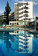 The glitzy Hotel Menzeh Zalagh is four-star hotel with amazing views over Fes el-Bali in Fes, Morocco. This pool is open to non-guests for a small fee and is nice retreat from the heat of a hot day like this one on Wednesday afternoon, June 06, 2007. (PHOTO BY TIMOTHY D. BURDICK).