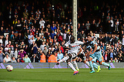 Fulham FC forward Sone Aluko (24) misses Fulham's second penalty during the EFL Sky Bet Championship match between Fulham and Queens Park Rangers at Craven Cottage, London, England on 1 October 2016. Photo by Jon Bromley.