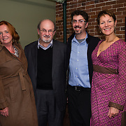 Author Salman Rushdie backstage with Particia Lynch, Bob Lord, and Virginia Prescott after speaking at a Writers On A New England Stage show at The Music Hall in Portmouth, NH.