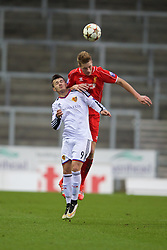 LIVERPOOL, ENGLAND - Tuesday, December 9, 2014: Liverpool's Daniel Cleary in action against FC Basel's Albian Ajeti during the UEFA Youth League Group B match at Langtree Park. (Pic by David Rawcliffe/Propaganda)